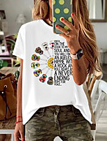 cheap -Women's T-shirt Floral Round Neck Tops Summer White Black Red