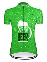 Недорогие -21Grams Жен. С короткими рукавами Велокофты Зеленый Пиво Октоберфест Велоспорт Верхняя часть Горные велосипеды Шоссейные велосипеды Дышащий Виды спорта Одежда / Слабоэластичная
