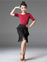 cheap -Latin Dance Skirts Tassel Girls' Training Performance Short Sleeve Natural Milk Fiber