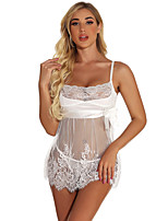 cheap -Women's Lace Bow Mesh Suits Nightwear Solid Colored White / Black S M L