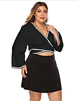 cheap -Women's Blouse Plus Size Solid Colored Tops V Neck Daily Summer Black XL 2XL 3XL 4XL / Going out