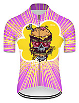 cheap -21Grams Men's Short Sleeve Cycling Jersey Nylon Polyester Violet Stripes Novelty Skull Bike Jersey Top Mountain Bike MTB Road Bike Cycling Breathable Quick Dry Ultraviolet Resistant Sports Clothing