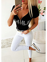 cheap -Women's Blouse Letter Tops - Zipper V Neck Basic Daily Summer Black S M L XL