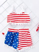 cheap -Baby Girls' Basic Flag Sleeveless Regular Clothing Set Red
