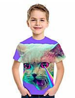 cheap -Kids Boys' Basic Cat Animal Print Short Sleeve Tee Purple