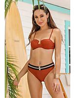 cheap -Women's Tankini Swimsuit Color Block Strap Swimwear Bathing Suits Brown