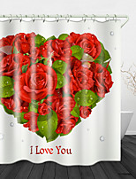 cheap -Romantic red Hearts Digital Print Waterproof Fabric Shower Curtain for Bathroom Home Decor Covered Bathtub Curtains Liner Includes with Hooks