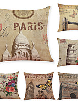 cheap -6 pcs Linen Pillow Cover, Retro Architecture Simple Modern Square Traditional Classic
