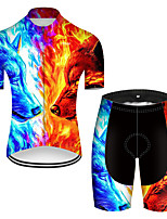 cheap -21Grams Men's Short Sleeve Cycling Jersey with Shorts Nylon Polyester Blue+Yellow Gradient Animal Wolf Bike Clothing Suit Breathable 3D Pad Quick Dry Ultraviolet Resistant Reflective Strips Sports