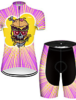 cheap -21Grams Women's Short Sleeve Cycling Jersey with Shorts Nylon Polyester Black / Yellow Stripes Novelty Skull Bike Clothing Suit Breathable 3D Pad Quick Dry Ultraviolet Resistant Reflective Strips