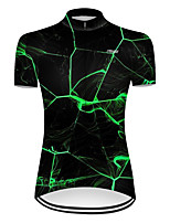 cheap -21Grams Women's Short Sleeve Cycling Jersey Nylon Polyester Black / Green 3D Lightning Gradient Bike Jersey Top Mountain Bike MTB Road Bike Cycling Breathable Quick Dry Ultraviolet Resistant Sports