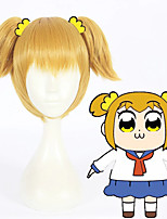 cheap -Cosplay Wig Popuko POP TEAM EPIC Straight Cosplay With 2 Ponytails With Bangs Wig Short Blonde Synthetic Hair 12 inch Women's Anime Cosplay Women Blonde