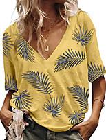 cheap -Women's T-shirt Graphic V Neck Tops Summer White Blue Yellow