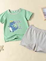 cheap -Kids Toddler Boys' Active Basic Daily Wear Festival Dinosaur Print Solid Colored Print Short Sleeve Regular Regular Clothing Set White