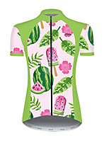 cheap -21Grams Women's Short Sleeve Cycling Jersey Nylon Polyester Pink+Green Floral Botanical Fruit Watermelon Bike Jersey Top Mountain Bike MTB Road Bike Cycling Breathable Quick Dry Ultraviolet Resistant