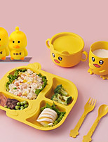 cheap -Baby Tableware 6 Piece Set Children's Dinner Plate Grid Home Creative Cartoon Environmentally Friendly Feeding Dishes