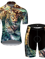 cheap -21Grams Men's Short Sleeve Cycling Jersey with Shorts Nylon Polyester Blue+Yellow Leopard Gradient Animal Bike Clothing Suit Breathable 3D Pad Quick Dry Ultraviolet Resistant Reflective Strips Sports