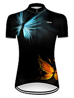 cheap -21Grams Women's Short Sleeve Cycling Jersey Nylon Polyester Red+Blue Butterfly Gradient Bike Jersey Top Mountain Bike MTB Road Bike Cycling Breathable Quick Dry Ultraviolet Resistant Sports Clothing