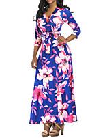 cheap -Women's Swing Dress Maxi long Dress - 3/4 Length Sleeve Floral Summer Sexy 2020 Blue Red S M L XL