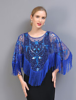 cheap -3/4 Length Sleeve Capes Tulle Party / Evening / Office / Career Shawl & Wrap With Tassel