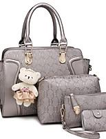 cheap -Women's Zipper PU Bag Set Bag Sets Solid Color Wine / Black / Blue