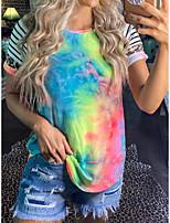 cheap -Women's T-shirt Tie Dye Tops Round Neck Basic Daily Summer Rainbow S M L XL