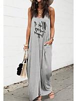 cheap -Women's Strap Dress Maxi long Dress - Sleeveless Letter Summer Casual 2020 Gray S M L XL XXL XXXL XXXXL