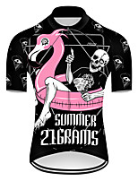 cheap -21Grams Men's Short Sleeve Cycling Jersey Nylon Polyester Black / Red Flamingo Animal Skull Bike Jersey Top Mountain Bike MTB Road Bike Cycling Breathable Quick Dry Ultraviolet Resistant Sports
