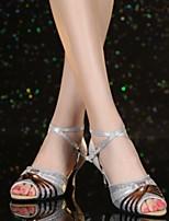 cheap -Women's Dance Shoes Latin Shoes Heel Cuban Heel Gold / Silver / Leather