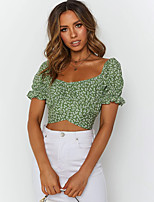 cheap -Women's T-shirt Floral Tops Puff Sleeve Boat Neck Daily Summer Green S M L