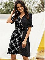 cheap -Women's Sheath Dress Short Mini Dress - Half Sleeve Polka Dot Patchwork Summer Casual 2020 Black S M L XL