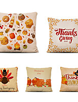 cheap -Set of 5 Thanksgiving Linen Square Decorative Throw Pillow Cases Sofa Cushion Covers