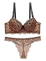 cheap -Women's Push-up Lace Bras Underwire Bra 3/4 Cup Bra & Panty Set Red Blushing Pink Gold