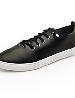 cheap -Men's Summer / Fall Classic / British Daily Outdoor Sneakers Walking Shoes Leather Breathable Wear Proof White / Black