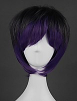 cheap -Cosplay Costume Wig Cosplay Wig Lolita Straight Cosplay Halloween With Bangs Wig Short Purple Synthetic Hair 14 inch Men's Anime Cosplay Creative Mixed Color