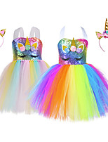 cheap -Princess Unicorn Tutu Flower Girl Dress Girls' Movie Cosplay A-Line Slip White / Blue Dress Headwear Christmas Halloween Children's Day Polyester
