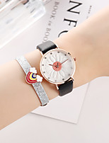 cheap -Women's Quartz Watches Quartz Stylish Floral Style New Arrival Chronograph PU Leather Black Analog - Black