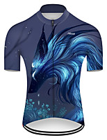 cheap -21Grams Men's Short Sleeve Cycling Jersey Nylon Polyester Black / Blue Dragon Animal Floral Botanical Bike Jersey Top Mountain Bike MTB Road Bike Cycling Breathable Quick Dry Ultraviolet Resistant