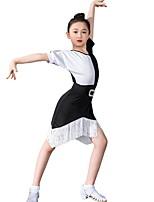cheap -Latin Dance Dress Ruching Girls' Training Daily Wear Short Sleeve Polyester