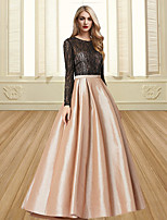 cheap -Ball Gown Color Block Elegant Engagement Formal Evening Dress Jewel Neck Long Sleeve Floor Length Satin with Pleats 2020