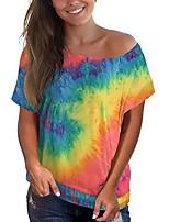 cheap -Women's T-shirt Tie Dye Tops Round Neck Daily Summer Blue Purple Yellow S M L XL 2XL