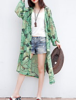 cheap -Women's Trench Coat Daily Long Plants Green One-Size