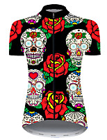cheap -21Grams Women's Short Sleeve Cycling Jersey Nylon Polyester Black / Red Skull Floral Botanical Funny Bike Jersey Top Mountain Bike MTB Road Bike Cycling Breathable Quick Dry Ultraviolet Resistant