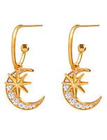 cheap -Women's Cubic Zirconia Stud Earrings Stardust Moon Star Sweet Cute Earrings Jewelry Gold For Party Daily Club Festival 1 Pair