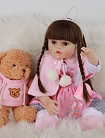cheap -FeelWind 18 inch Reborn Doll Baby & Toddler Toy Reborn Toddler Doll Baby Girl Gift Cute Lovely Parent-Child Interaction Tipped and Sealed Nails 3/4 Silicone Limbs and Cotton Filled Body LV076 with