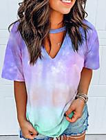 cheap -Women's T-shirt Tie Dye Tops V Neck Daily Summer White Black Blue S M L XL 2XL 3XL 4XL 5XL