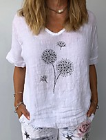 cheap -Women's T-shirt Floral V Neck Tops Summer White Yellow Navy Blue