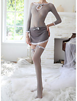cheap -Women's Lace Backless Cut Out Suits Nightwear Jacquard Solid Colored Gray One-Size