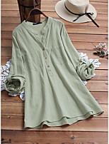Недорогие -Жен. Блуза Однотонный Верхушки V-образный вырез Свободный силуэт Хлопок Классический Повседневные Лето Желтый Светло-зеленый M L XL 2XL 3XL 4XL