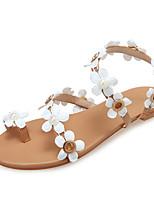 cheap -Women's Sandals Boho / Beach Summer Flat Heel Open Toe Sweet Daily Beach Satin Flower Solid Colored PU White / Brown